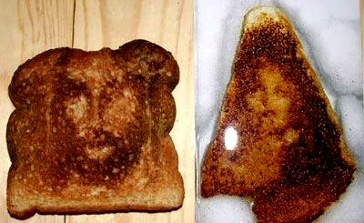 Left: Jesus on Toast. Right: Virgin Mary on Toast.