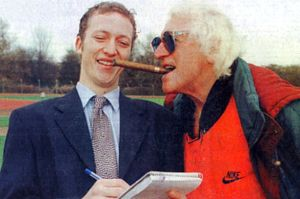 Journalist James Saville with Paedophile Sir Jimmy Savile.