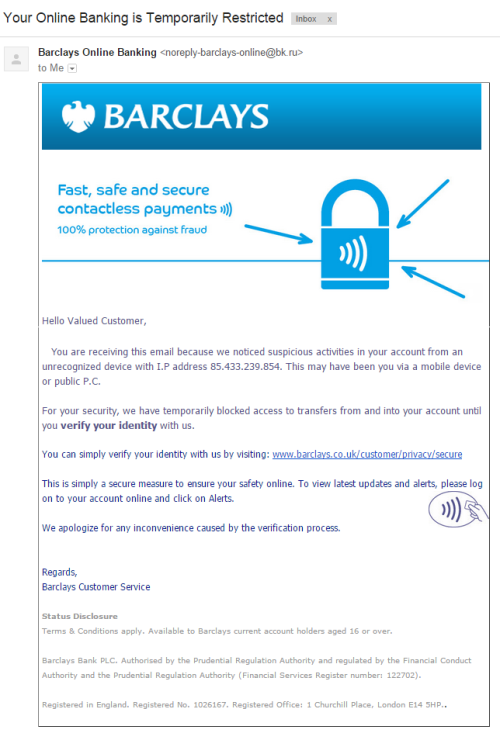 barclays scam