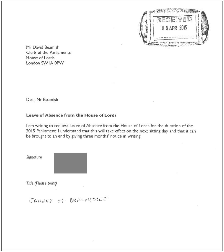 """Lord Janner Letter """"I Understand"""""""
